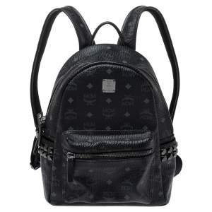 MCM Black Visetos Coated Canvas Bebe Boo Backpack