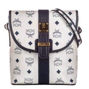 MCM White/Black Visetos Leather Crossbody Bag