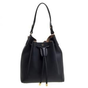 MCM Shadow Grey Leather Drawstring Bag
