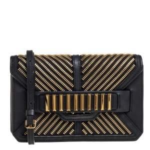 MCM Black Leather Mischa Zipper Flap Crossbody Bag