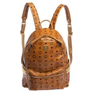 MCM Cognac Visetos Coated Canvas Medium Studs Stark Backpack