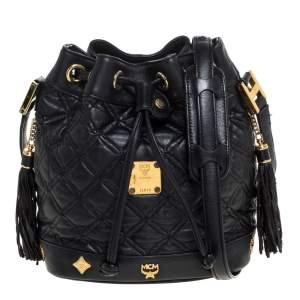 MCM Black Leather Drawstring Shoulder Bag