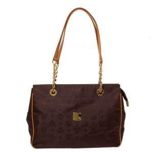 MCM Brown Visetos Nylon and Leather Chain Tote