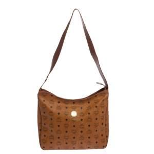 MCM Brown Visetos Coated Canvas and Leather Shoulder Bag