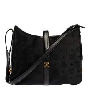 MCM Black Visetos Nylon and Leather Flap Shoulder Bag
