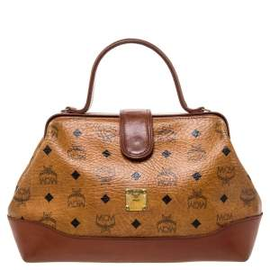 MCM Cognac/Brown Visetos Coated Canvas and Leather Frame Satchel