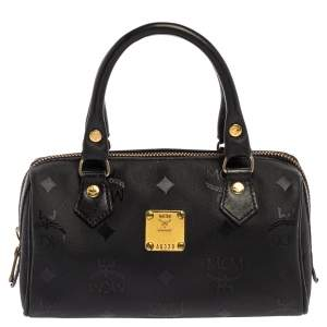 MCM Black Signature Nylon and Leather Mini Zip Shoulder Bag