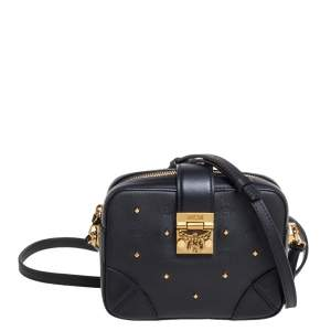 MCM Black Coated Canvas and Leather Studded Camera Bag