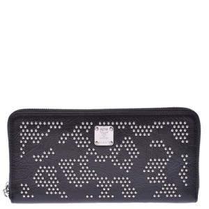 MCM Black Leather Leopard Studs Wallet