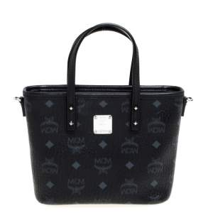MCM Black Visetos Coated Canvas and Leather Mini Anya Zip Tote