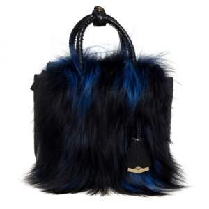 MCM Black/Blue Snakeskin and Fur Mini Milla Tote