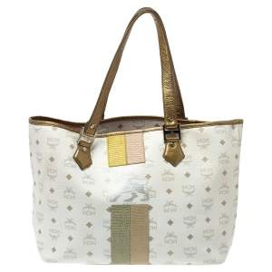 MCM White Visetos Coated Canvas and Leather Medium Princess Lion Shopper Tote