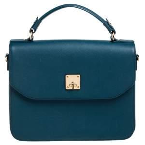 حقيبة يد إم سي غم جلد أزرق مخضر بقلاب ويد علوية
