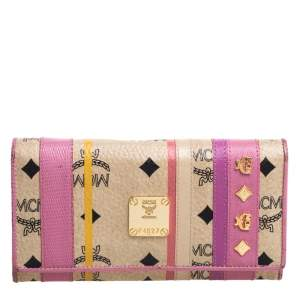 Mcm Multicolor Coated Canvas and Leather Trifold Wallet