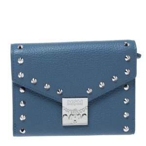 MCM Blue Leather Studded Trifold Wallet