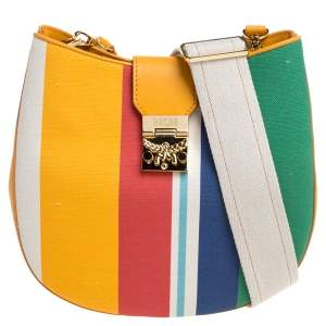 MCM Multicolor Stripe Canvas and Leather Crossbody Bag