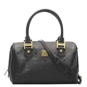 MCM Black Nylon Visetos Satchel Bag