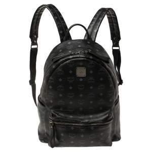 MCM Black Visetos Coated Canvas Stark Backpack