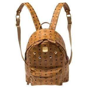 MCM Cognac Visetos Coated Canvas Stark Studded Backpack