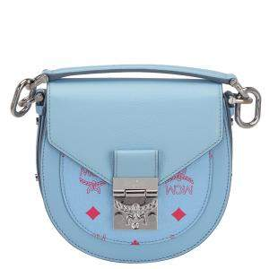 MCM Blue Leather Visetos Patricia Mini Crossbody Bag