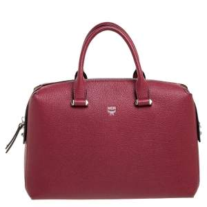 MCM Red Leather Boston Bag