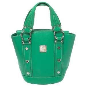 حقيبة أم سي أم باكت قلاب مرصعة جلد خضراء