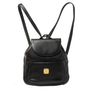 حقيبة ظهر أم سي أم قلاب جلد سوداء