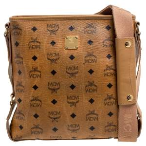 MCM Cognac Visetos Canvas Messenger Bag