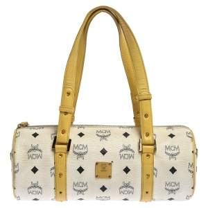 MCM White/Yellow Visetos Coated Canvas and Leather Mini Rolle Boston Bag