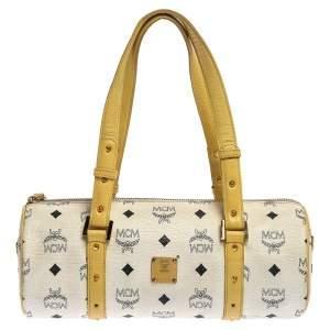 حقيبة أم سي أم ميني رول بوسطن جلد وكانفاس مقوى فيستوز صفراء/ بيضاء