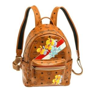 MCM Tan Floral Print Coated Canvas Small Stark Backpack