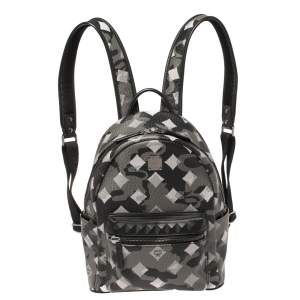 MCM Black/Grey Munich Lion Camo Print Coated Canvas and Leather Stark Backpack