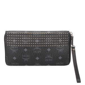 MCM Black Visetos Studded Leather Wallet