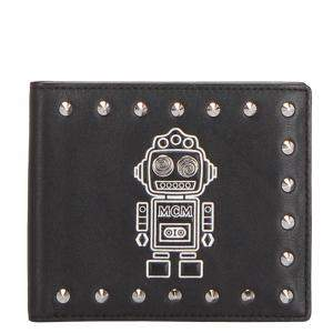 MCM Black Studded Leather Robot Bifold Wallet