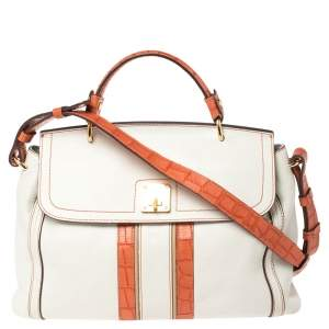 MCM White/Orange Leather and Croc Embossed Leather Flap Top Handle Bag