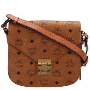 MCM Brown Visetos Canvas Small Patricia Crossbody Bag