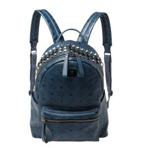 MCM Blue Visetos Coated Canvas Studded Stark Backpack