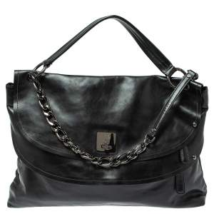 MCM Black Leather Turlock Double Flap Top Handle Bag