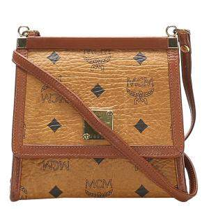 MCM Brown Visetos Leather Crossbody Bag