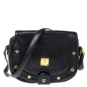 MCM Black Leather Flap Crossbody Bag