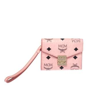 MCM Cognac Pink Visetos Coated Canvas Flap Wristlet Wallet