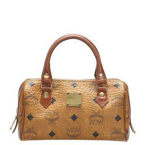 MCM Brown/Beige Leather Mini Visetos Leather Boston Bag