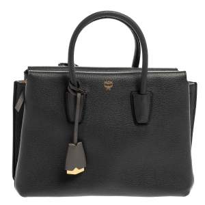 MCM Dark Grey Leather Medium Milla Tote