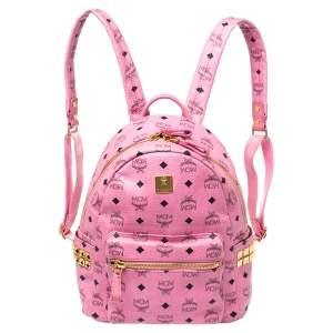 MCM Pink Visetos Coated Canvas Small Studs Stark Backpack