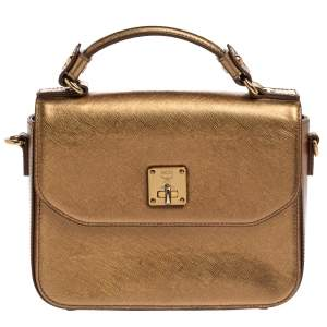 MCM Metallic Gold Leather Flap Top Handle Bag