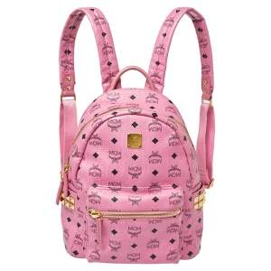 MCM Pink Visetos Coated Canvas and Leather Stud Stark Backpack