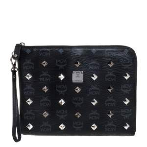 MCM Black Visetos Coated Canvas Studded Wristlet Clutch