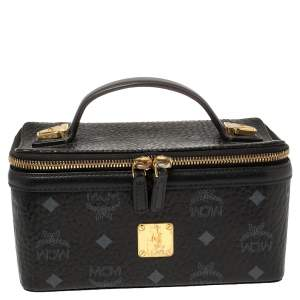 MCM Black Leather Visetos Rockstar Vanity Case