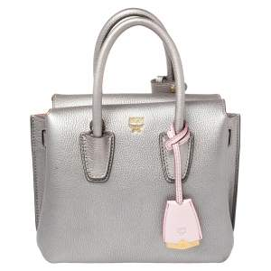 MCM Silver Leather Mini Milla Tote