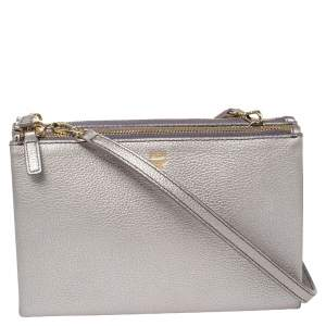 MCM Metallic Lilac Leather Milla Double Zip Crossbody Bag